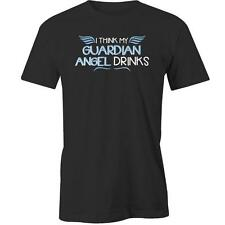 I Think My Guardian Angel Drinks T-Shirt Drunk Beer Drinking Party Tee New