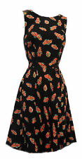 New Black Red Floral Retro WW11 Wartime 1930's, 1940's style Tea Dress