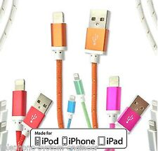 2X Metal MFI Braided Lightning Sync Data Cable USB Charger For iPhone 5 6 iPad 4