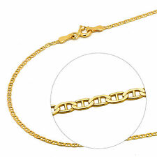 14K Solid Yellow Gold Italy Flat Gucci Mariner Chain Necklace 1.6  mm