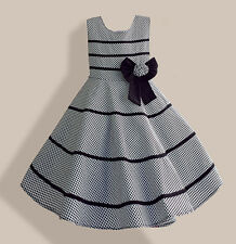 NWT Girls Dress Gray Plaid Flower Bow Party Pageant Children Clothes Size 4-12Y