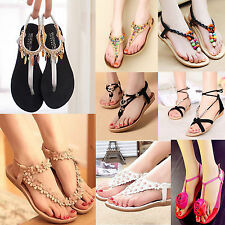 New Women Retro Bohemia Floral Flat Sandals Summer Casual Beach Slippers Thongs