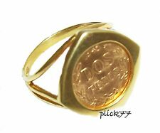 24k Gold Plated Triangle Design Women's Coin Ring with 2 Dos Peso Gold Coin