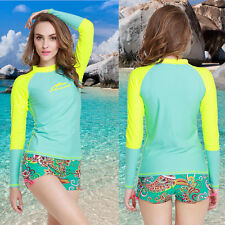 New Womens Rash guard Long Sleeve Sun Shirts Uv Surf Swim Top Lycra Swimwear