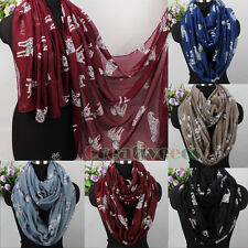 Women's Animal Dalmatian Spotty Dog Print Long Scarf/Infinity Loop Cowl Scarf