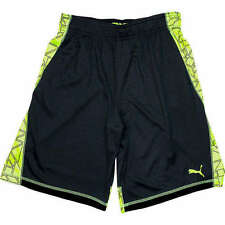 NWT PUMA boys youth shorts black and active green geometric YOU PICK size 5-18