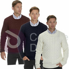 Mens Smart Chunky Knit Cable Jumper Thick Warm Winter Knitted Sweater Pullover