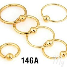 """2pcs. 14G~5/16"""" to 1/2"""" Gold Plated Captive Bead Rings Nipple Ears Labret Septum"""