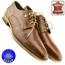 Men Genuine Leather Smart Formal Lace Up Casual Office Fashion Brown Shoes UK