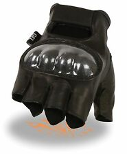 MEN'S MOTORCYCLE LEATHER FINGERLESS W/ HARD CARBON KNUCKLES KNOCK OUT GLOVES
