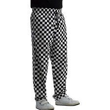 Unisex Polycotton Chefs Trousers Black White Checked Cooks Restaurant Workwear