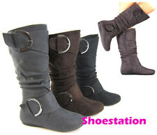 NEW Women Fashion Slouch Boot Shoe Mid-Calf Knee High Riding Combat Comfort Flat