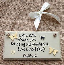 Personalised Wedding Favour Thank You Gift Plaque Bridesmaid Flowergirl