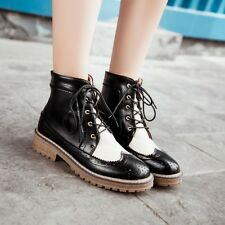Korean Retro Brogue Womens Lace Up Chunky Heel Platform Casual Ankle Boots Shoes