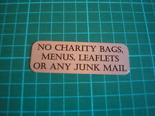 METAL DOOR PLAQUE - NO JUNK MAIL | NO COLD CALLERS ETC... FREE P+P