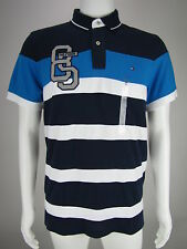 TOMMY HILFIGER Mens Navy Blue White Striped Graphic Polo Shirt S M NEW WITH TAGS
