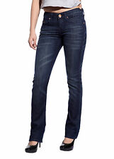 Women Comfort Slim Fit Jeans Low Rise Denim Straight Leg Pants Sexy Trouser Blue