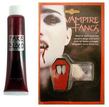 VAMPIRE DRACULA FANGS CAPS TEETH HALLOWEEN FANCY DRESS FAKE BLOOD PUTTY ADHESIVE