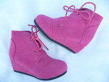 FUCHSIA GIRLS WEDGE BOOTS SHOES YOUTH SIZE 9-4