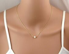Tiny pear goldl necklace ,Silver pearl necklace, Gold filled pearl necklace ,