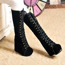 Womens Fashion Gothic Lace Up Knee High Wedge Heel Boots Shoes Gladiator Size 38