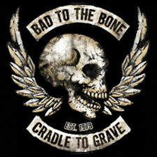 Bad To The Bone Cradle To Grave Motorcycle Biker Skull Angel Wings T-Shirt Tee