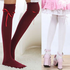 Fashion Long Knitted Boot Socks Women Bow Over Knee Thigh High Cotton Stocking