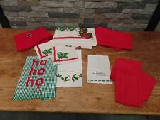 Lot Of Christmas Linens Holiday Decor 15 Pieces Dish Towels Table Cloths Napkins