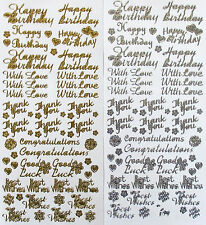 Mixed Assorted Birthday Thank You With Love Good Luck PEEL OFF STICKERS Happy