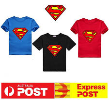 NEW Superman Super Hero Boys Tshirt Superhero Kids Tee Top T Shirt Short Sleeve