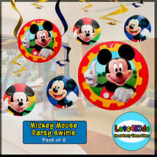 MICKEY OR MINNIE MOUSE PARTY SWIRLS - PARTY DECORATIONS - PACK OF 6