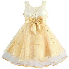 NWT Girls Dress Champagne Flower Bow Party Pageant Wedding Kids Clothes 4-12 Y