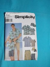 Simplicity #5581 Pattern Sz A Men's S-XL & Boys Sz S-L Shirt, Shorts, Hat Uncut