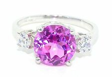 4 Ct Pink Sapphire & White Topaz Round Ring .925 Sterling Silver