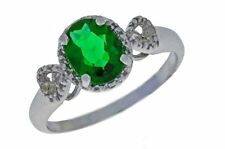 1.5 Ct Emerald & Diamond Oval Heart Ring .925 Sterling Silver