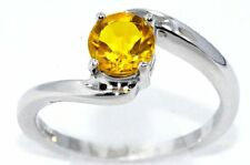 1 Ct Yellow Citrine Round Ring .925 Sterling Silver