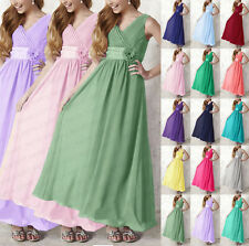 V-neck Chiffon Bridesmaid Dresses Floor Length Formal Evening Gowns Size 6-18