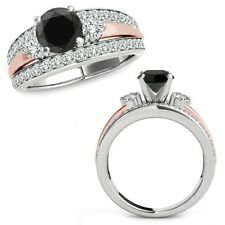 1.50 Ct Black Diamond Fancy Designer Halo Wedding Ring Band 14K White Rose Gold