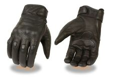 Milwaukee Leather Men's Perforated Leather Glove w/ Knuckle Padding and Gel Palm