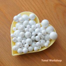 White AB (6mm-14mm) Round Acrylic Beads Cute Accessories Necklace Craft DIY