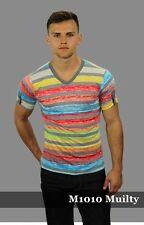 Mission S Multi Colored Poly Blend V-Neck Henley Short Sleeve Tee