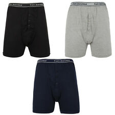 Mens Kam Boxer Shorts Big King Sizes 3 Pack Underwear Trunks Button Fly 2XL-6XL