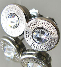 357 MAGNUM Winchester W-W Super Bullet Earrings CHOICE Crystal Silver Nickel MAG
