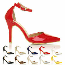 NEW WOMENS POINT TOE ANKLE STRAP STILETTO LADIES HIGH HEEL SANDAL SHOES SIZE 3-8