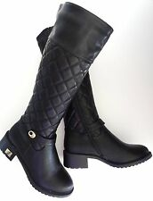 Womens Black Low Heel Knee High Casual or Dress Riding Tall Boots Sizes 6.5-10