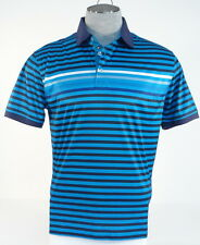 Tommy Hilfiger Golf Blue Black & White Stripe Short Sleeve Polo Shirt Mens NWT