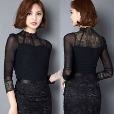 New High Neck Frilly Womens Vintage Victorian Lace Top Shirt Mesh Sheer Blouse