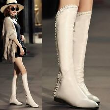2015 New Women's Real Leather Round Toe Zip Knee High Boots Flat Heel Warm Shoes