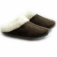 Cara Mia JUDY Ladies Warm Soft Faux Fur Winter Comfy Mule Slippers Dark Brown