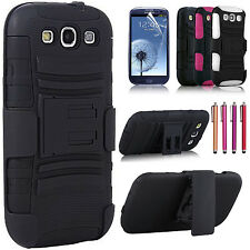 Hybrid Armor Hard Holster Belt Clip Kickstand Case For Samsung Galaxy S3 i9300